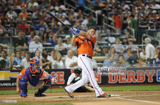 Washington Nationals Bryce Harper competes in the first round of the home run derby at the AllStar game on July 15 2013 in New York NY