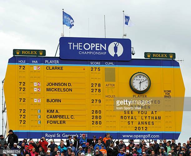 Final scoreboard after the final round of the Open Championship at Royal St Georges Sandwich Kent United Kingdom