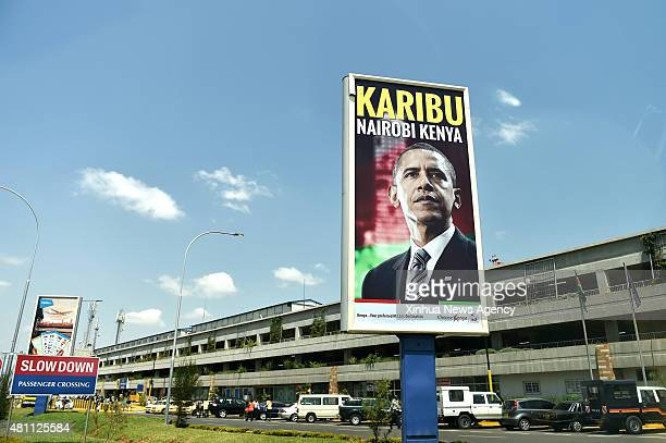 NAIROBI July 17 2015 Photo taken on July 17 2015 shows a giant poster with the image of US President Barack Obama ahead of his visit to the country...