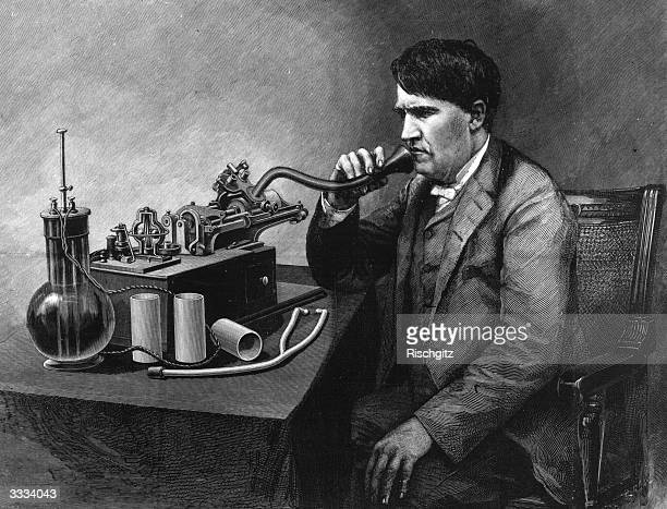 The inventive genius Thomas Edison speaking through a perfected phonograph Original Publication Illustrated London News pub 1888