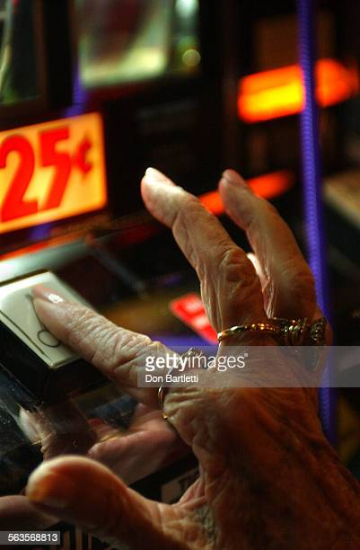 July 19 2004 Pauma Valley CA Ailene Glander taps the play button on a 25–cent slot machine at the Pauma Casino The resident of Leisure World in...