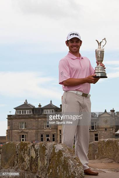 SCOTLAND July 19 2010 The Open Champion Louis OOSTHUIZEN from South Africa winner of the The Open Championship on top of the Swilcan Bridge with the...