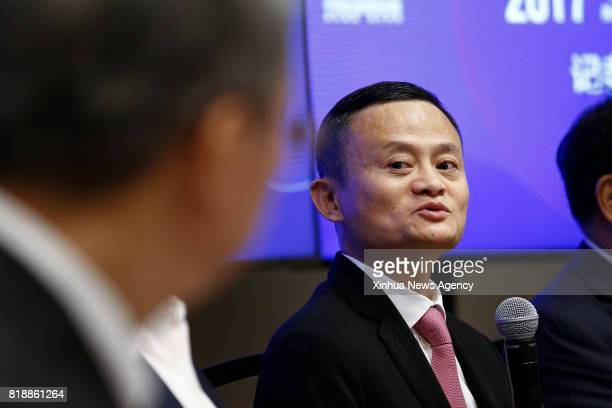 C July 19 2017 Jack Ma founder and chairman of Chinese ecommerce giant Alibaba reacts at a press conference during the 2017 ChinaUS Business Leaders...