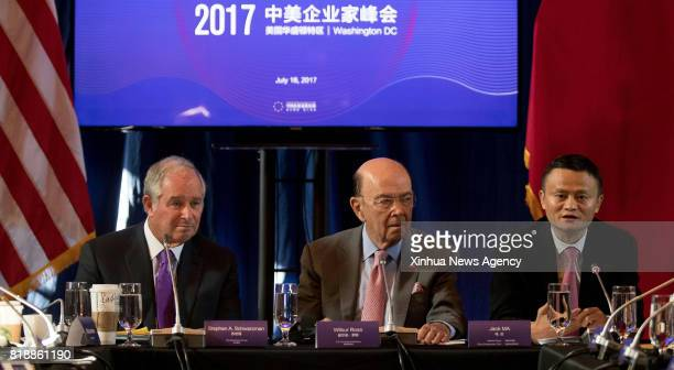 C July 19 2017 US Commerce Secretary Wilbur Ross Chairman and CEO of the Blackstone Group Stephen Schwarzman and founder and Chairman of Chinese...