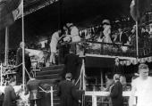 Queen Alexandra presents Ralph Rose of the USA with the Shot putting gold medal at the 1908 Olympics
