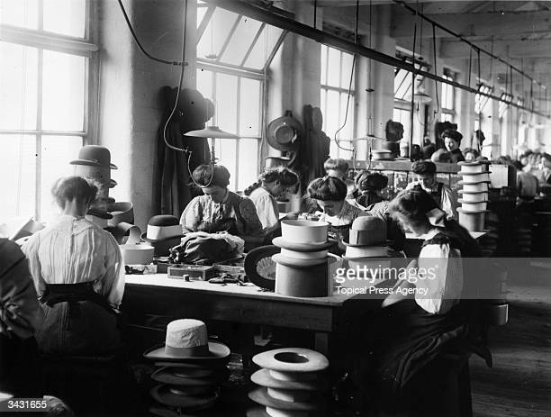 Women making hats at the Sutton Torkington factory in Manchester