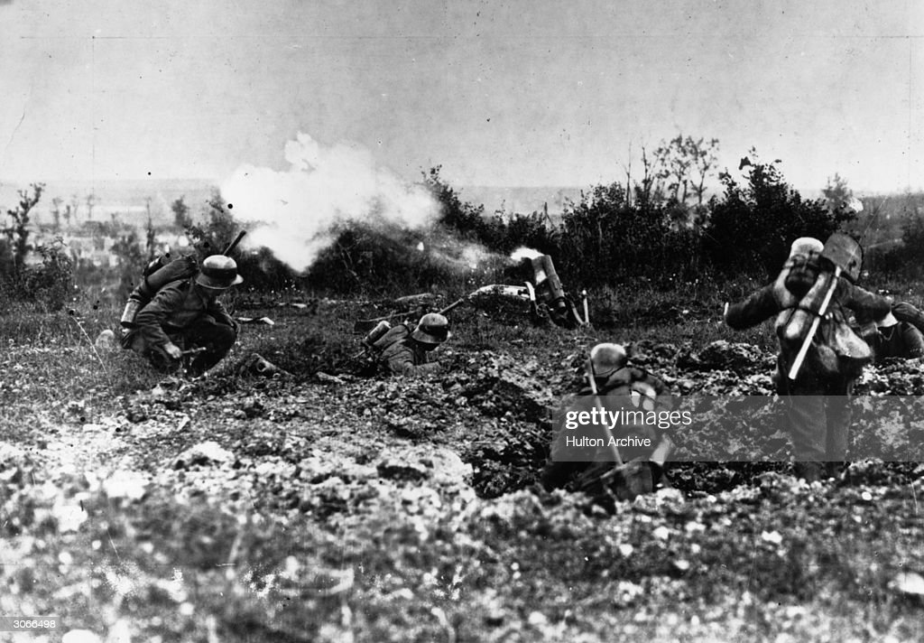 German soldiers in action on the battlefront at Kiel and Pohlberg in West Champagne.