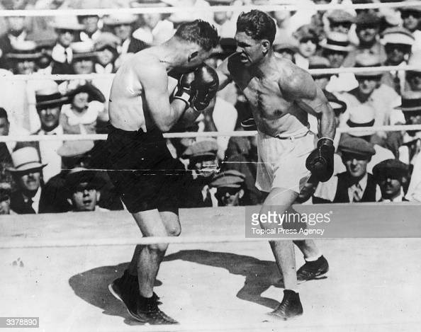 American world champion heavyweight boxer Jack Dempsey in action against Tom Gibbons of the USA during their fight at Shelby Montana