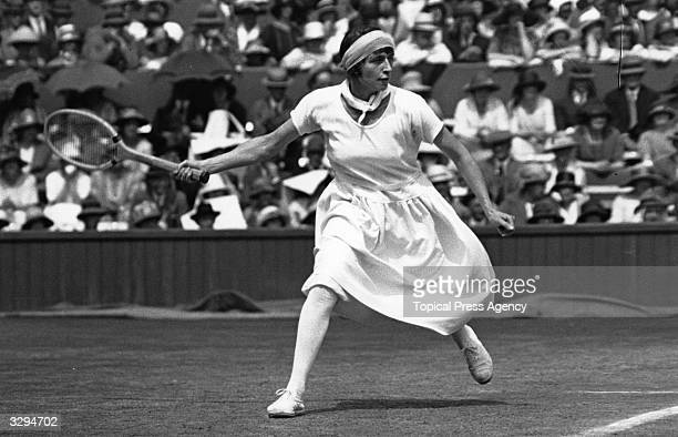 Kathleen McKane in action during the women's singles final at the Wimbledon Lawn Tennis Championships