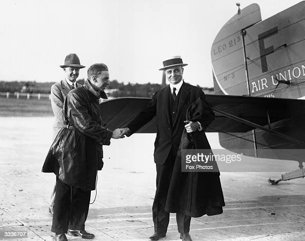 Pioneer French aviator Louis Bleriot arriving at Croydon airfield London