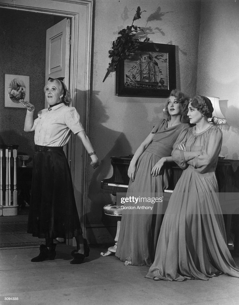 Margaret Rutherford as 'Madam Arcati', Kay Hammond as Elvira and Fay Compton as Ruth in 'Blithe Spirit', at The Piccadilly Theatre, London.