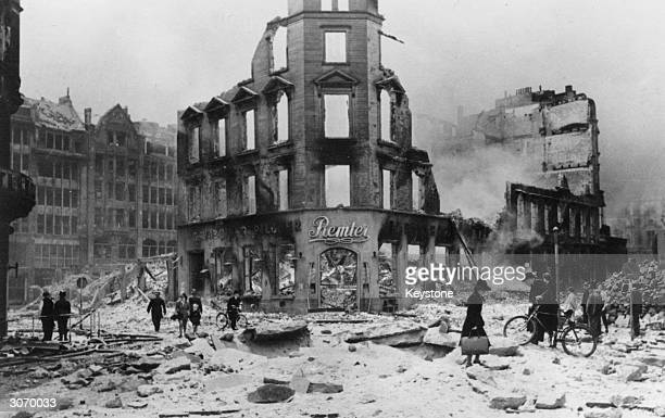 The ruins of Hamburg after allied bombing