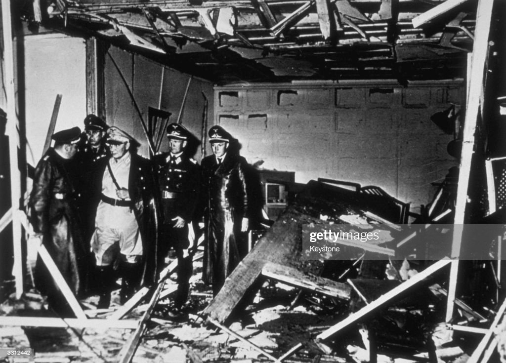 The conference room after an attempt on Adolf Hitler's life in his HQ at Rastenburg East Prussia Hermann Goering is in the centre