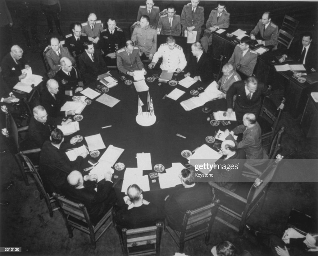 An overhead view during the new 'Big Three' meeting in Potsdam, between Stalin, Truman and Attlee.