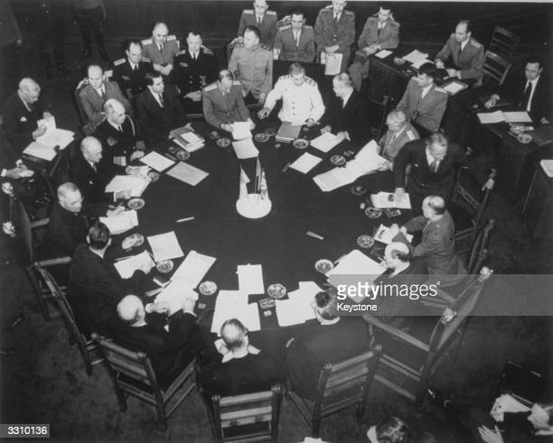 An overhead view during the new 'Big Three' meeting in Potsdam between Stalin Truman and Attlee