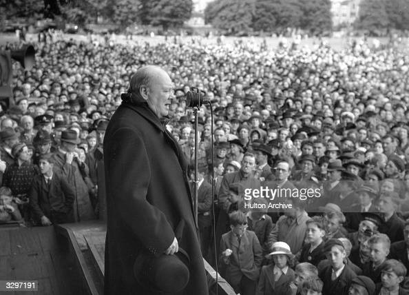 The prime minister of the wartime Coalition government Sir Winston Leonard Spencer Churchill during a speech The July 1945 general election resulted...