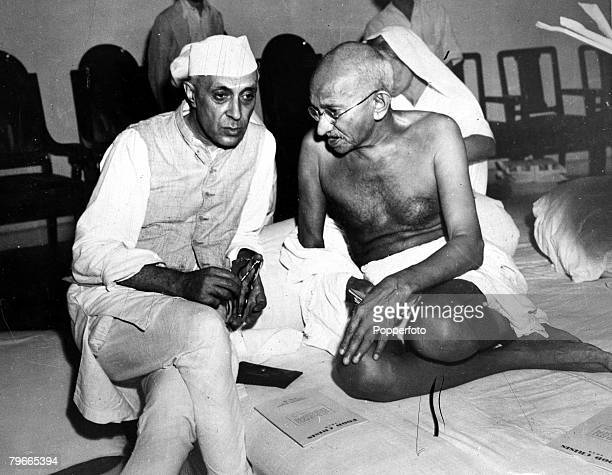 July 1946 New Delhi India Indian Prime Minister Jawaharlal Nehru talks with Indian political and spiritual leader and social reformer Gandhi