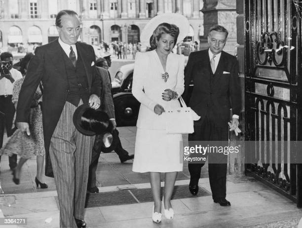 Argentine First Lady Eva Peron on her arrival at the Ritz Hotel in Paris
