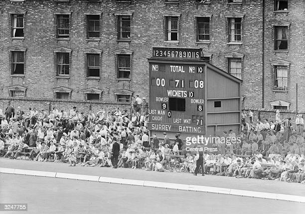The scoreboard during the Surrey V India match at Oval in south London
