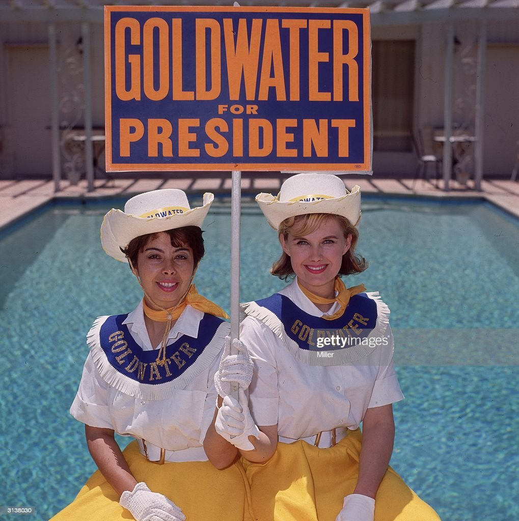 Two Goldwater girls in Sherman Oaks California campaigning for Barry Goldwater the Republican candidate for the Presidential election Aged between 18...