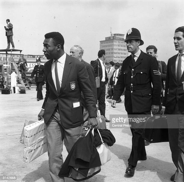 Brazilian football star Pele arrives in Liverpool with a police escort during the 1966 World Cup