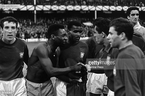 Despite his disappointment Brazilian football star Pele congratulates the Portugal team after they beat Brazil 31 in the 1966 World Cup