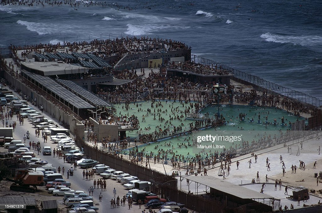 July 1967 after the 'Six Day War' Israel tripled its surface area The new frontier of the Hebrew state Views down the crowded beach in Tel Aviv
