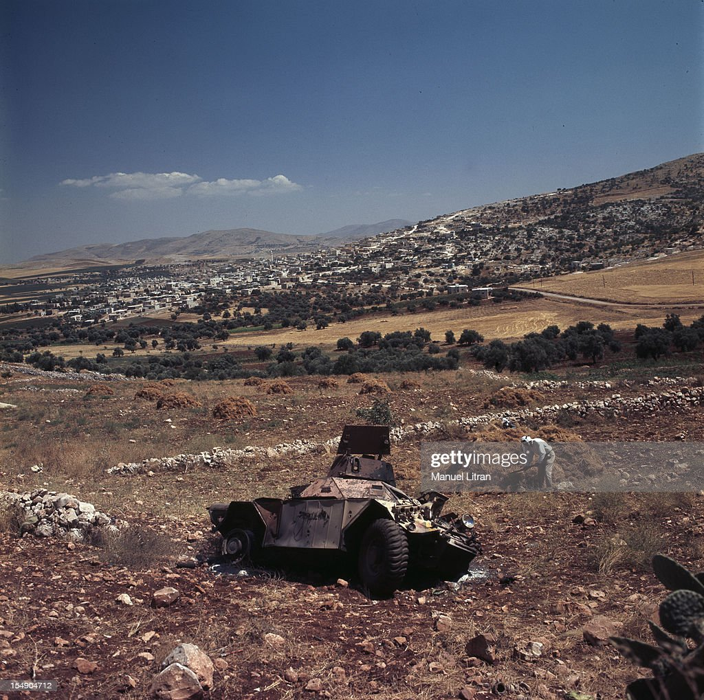 July 1967 after the 'Six Day War' Israel tripled its surface area The new frontier of the Hebrew state In a field next to the wreck of a military...
