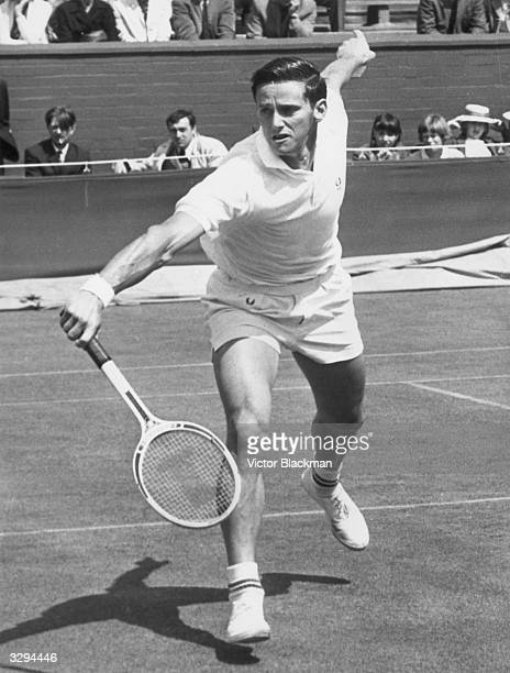 Australian tennis player Roy Emerson in action at the Wimbledon Lawn Tennis Championships