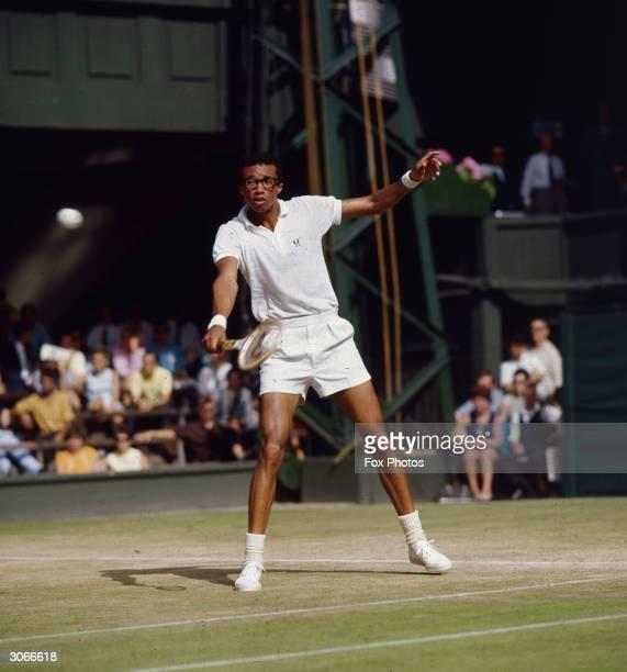 American tennis champion Arthur Robert Ashe Jnr the first black player to win a major men's tennis tournament on court at Wimbledon
