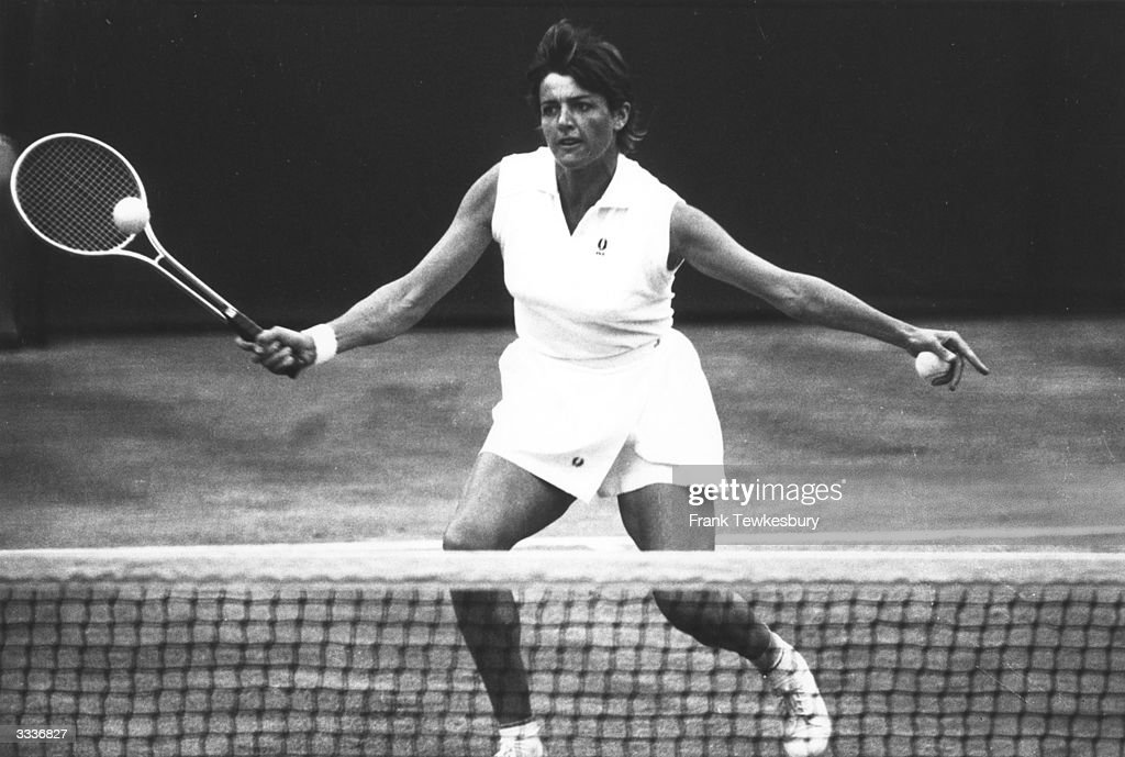 Australian tennis star <a gi-track='captionPersonalityLinkClicked' href=/galleries/search?phrase=Margaret+Court&family=editorial&specificpeople=226911 ng-click='$event.stopPropagation()'>Margaret Court</a> (nee Smith) in action at Wimbledon in the year she won the Womens singles, beating Billie Jean King in the final.