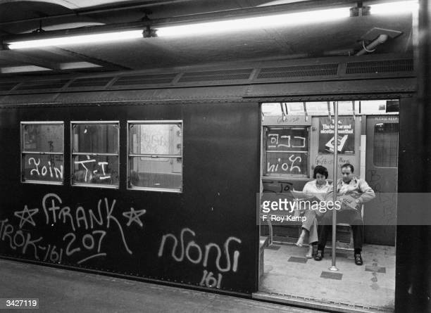 Graffiti on a New York Subway train