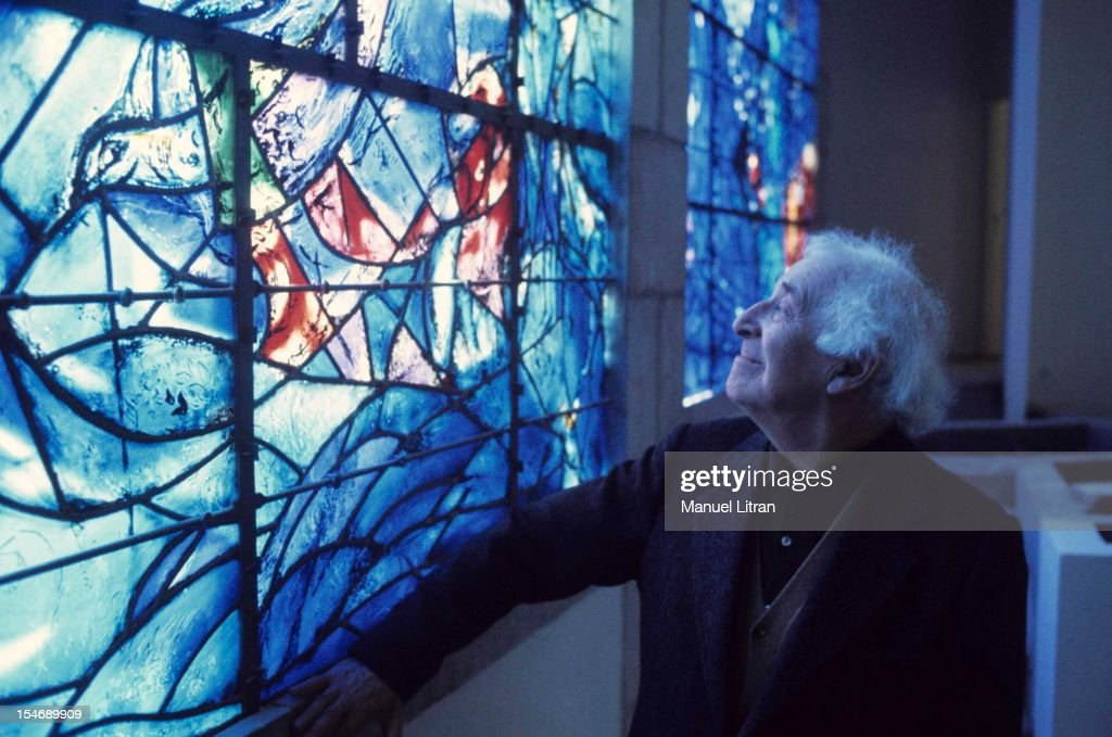July 1973, the painter <a gi-track='captionPersonalityLinkClicked' href=/galleries/search?phrase=Marc+Chagall&family=editorial&specificpeople=214176 ng-click='$event.stopPropagation()'>Marc Chagall</a> was the occasion of the inauguration of the Musee National Message Bible which is devoted to Nice. He looks at the stained glass window he designed for the museum.