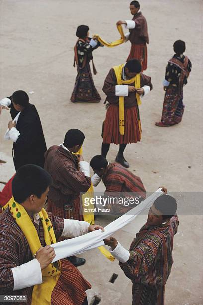 Bhutanese dancers prepare to perform during a festival at the Tashico Dzong the seat of the Royal Government in Thimphu the capital of Bhutan