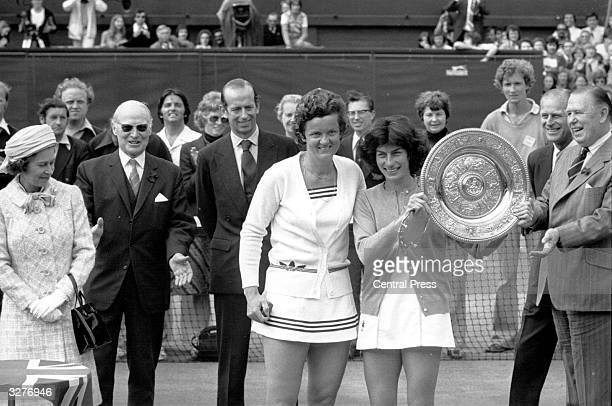 British tennis player Virginia Wade holding the trophy she won after defeating Holland's Betty Stove in the finals at Wimbledon The trophy was...