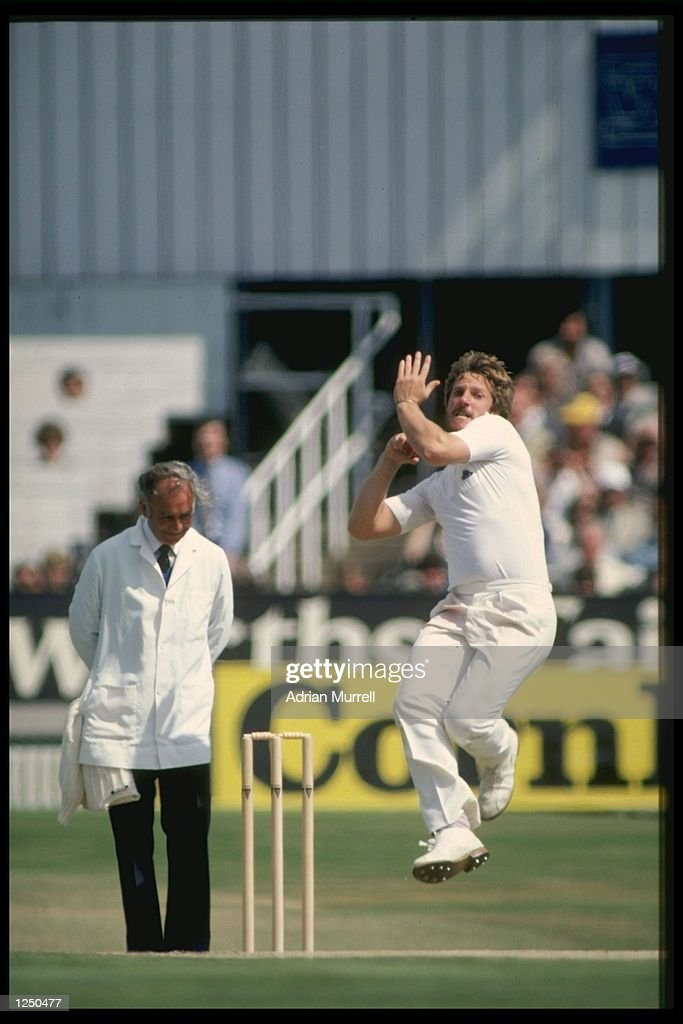 Ian Botham bowls for England during the Historic Test match aginst Australia at Headingley This was Botham's first test after being sacked as captain...