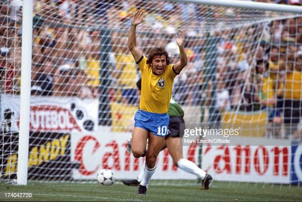 02 July 1982 Fifa World Cup Argentina v Brazil Zico celebrates after scoring a goal for Brazil