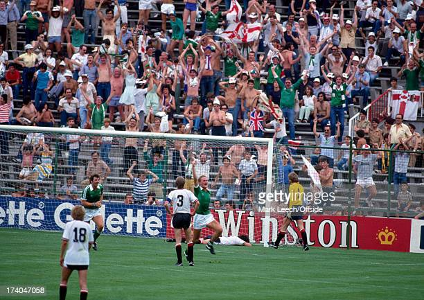 01 July 1982 Football World Cup 1982 Austria v Northern Ireland Billy Hamilton celebrates scoring the equalising goal for Northern Ireland