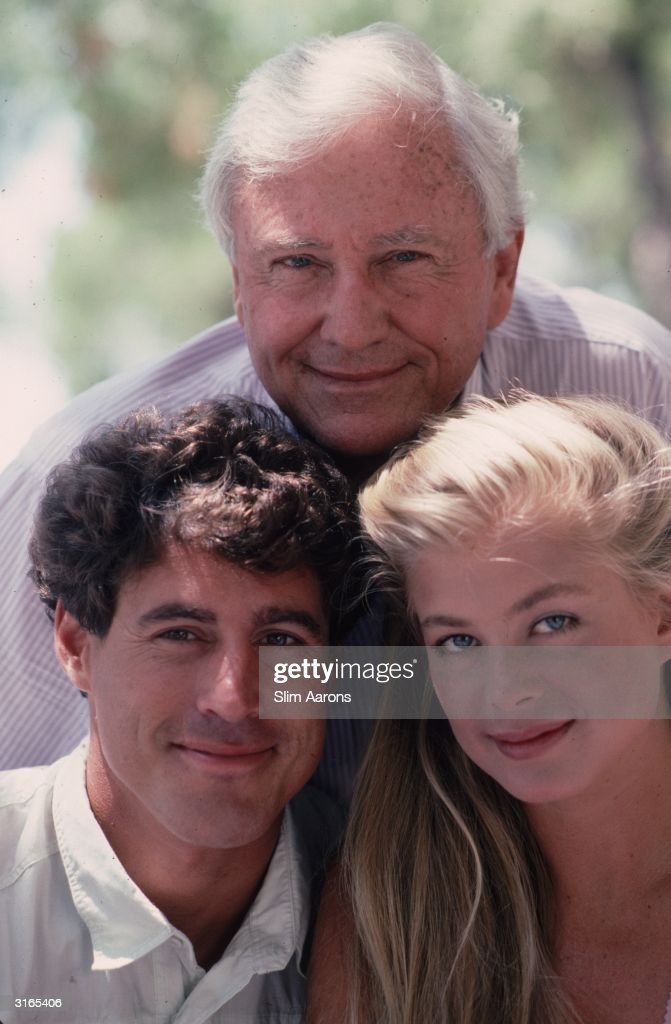 TV personality Merv Griffin with his son, actor Tony Griffin and fashion model Tricia Gist in Cap Ferrat, on the French Riviera.