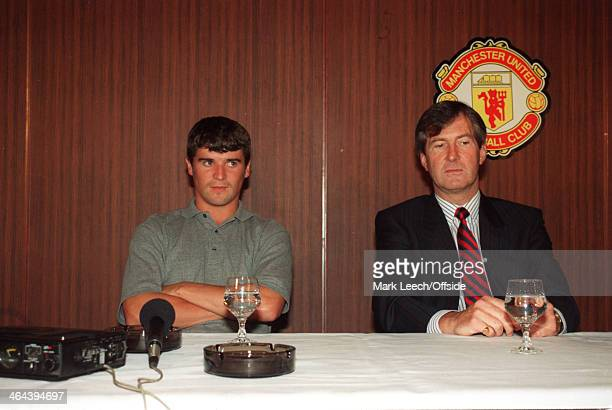 19 July 1993 Manchester United Chairman Martin Edwards and Roy Keane sit together while answering questions from the media
