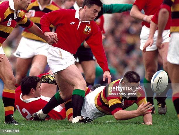 29 July 1993 Rugby Touring match Waikato v British Lions Warren Gatland of Waikato is on the floor to get to the ball before the floored Will Carling...