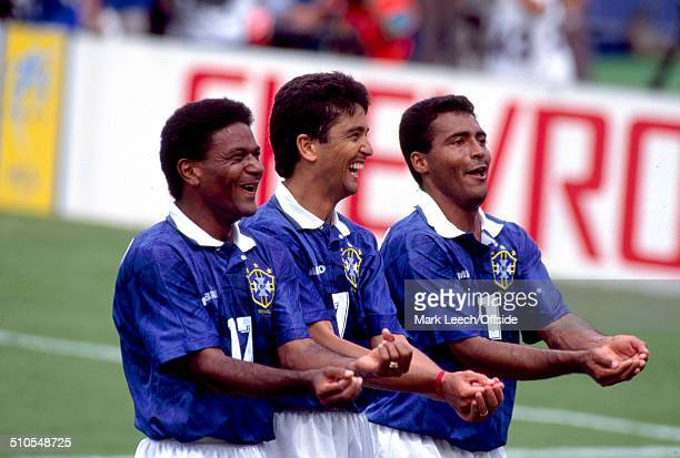 09 July 1994 Fifa World Cup Brazil v Holland Mazinho Bebeto and Romario celebrate the second goal with an obscure celebration