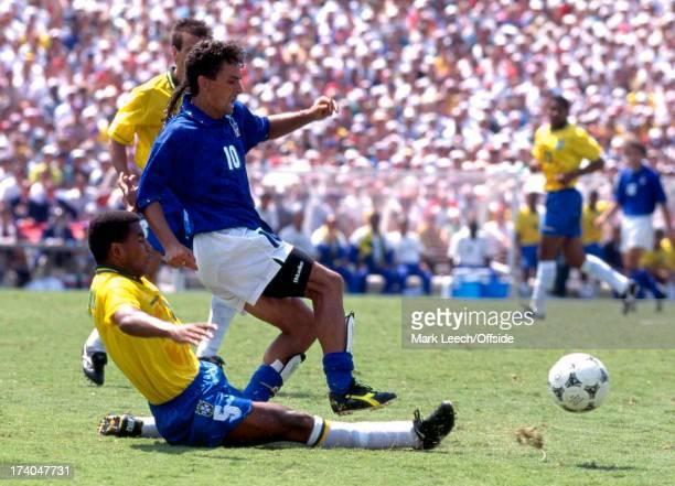 17 July 1994 Football World Cup 1994 Brazil v Italy Mauro Silva tackles Roberto Baggio
