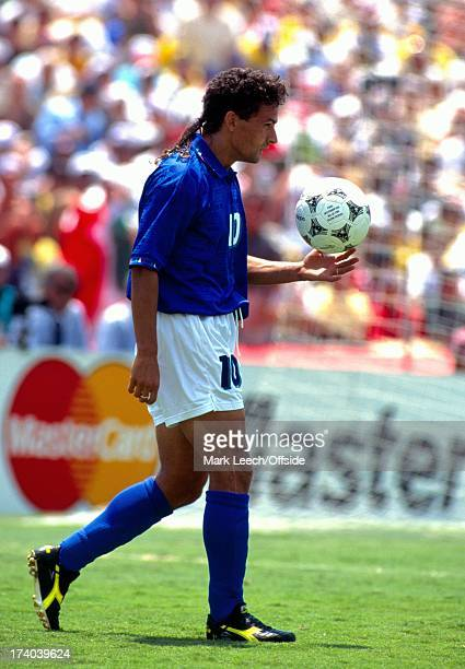 17 July 1994 World Cup Final 1994 Brazil v Italy Los Angeles Roberto Baggio walks out to place his ball on the penalty spot