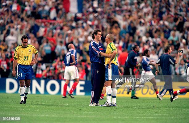 12 July 1998 World Cup Final France v Brazil Laurent Blanc of France consoles a dejected Ronaldo of Brazil
