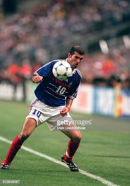 12 July 1998 World Cup Final France v Brazil Zinedine Zidane of France in action