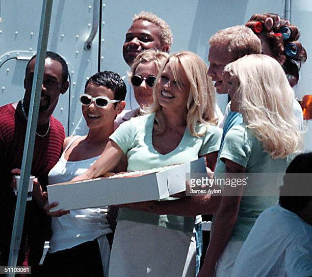 July 1St 1998 Santa Monica Calif Pamela Anderson Celebrates Her 31St Birthday On The Set Of Her Tv Show VIP These Exclusive Photos Show Her Tucking...