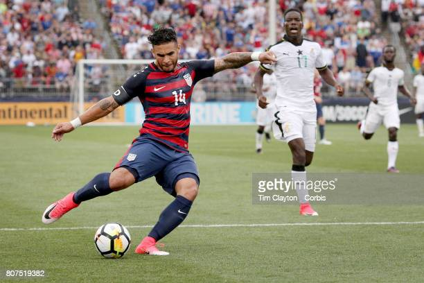 Dom Dwyer of the United States shoots during the United States Vs Ghana International Soccer Friendly Match at Pratt Whitney Stadium on July 1st 2017...
