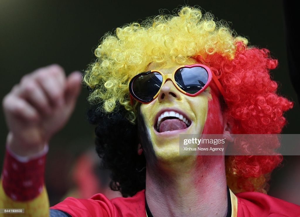 LILLE, July 2, 2016 -- A fan of Belgium cheers before the Euro 2016 quarterfinal match between Belgium and Wales in Lille, France, July 1, 2016.