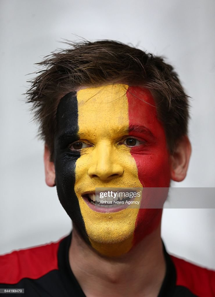 LILLE, July 2, 2016-- A fan of Belgium poses before the Euro 2016 quarterfinal match between Belgium and Wales in Lille, France, July 1, 2016.